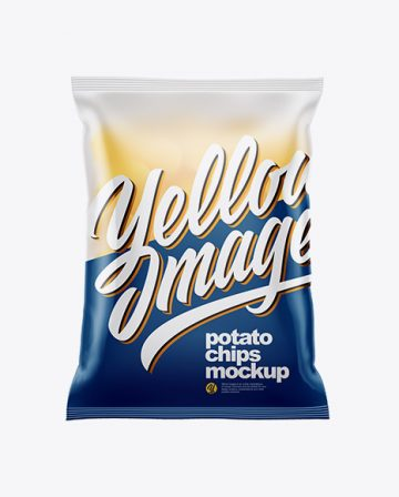 Frosted Bag With Corrugated Potato Chips Mockup