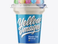 Plastic Cup with Sweets Mockup