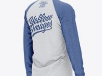 Men's Heather Raglan Long Sleeve T-Shirt Mockup - Back Half Side View