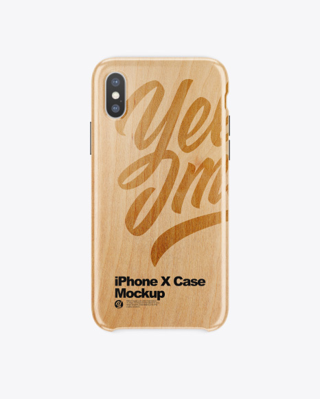 iPhone X White Wooden Case Mockup