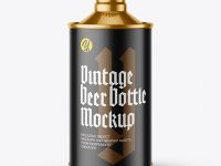 Metallic Vintage Beer Bottle Mockup