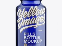 Blue Glass Pills Bottle Mockup - Front View
