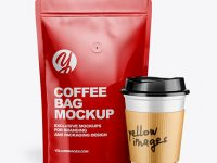 Glossy Pouch w/ Coffee Cup Mockup