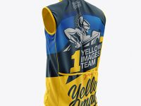 Men's Cycling Wind Vest mockup (Back Half Side View)