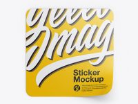 Textured Square Sticker Mockup