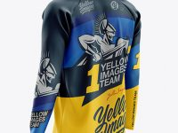 Men's MTB Trail Jersey LS mockup (Back Half Side View)