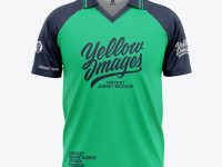 Men's Short Sleeve Cricket Jersey / Polo V-Neck Shirt - Front View