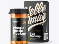 Clear Pills Bottle with Box Mockup