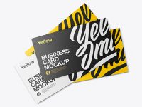 Four Business Cards Mockup
