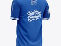 Men's Henley Collar Soccer Jersey Mockup - Back Half-Side View