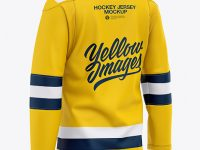 Men's Lace Neck Hockey Jersey Mockup - Back Half-Side View