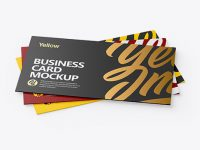 Three Textured Business Cards Mockup