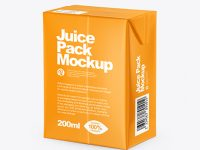 200ml Glossy Juice Carton Package Mockup