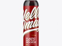 Clear PET Bottle with Cola Mockup