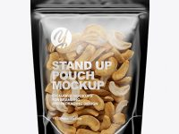 Glossy Transparent Stand-Up Pouch W/ Cashew Nuts Mockup
