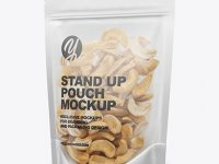 Matte Transparent Stand-Up Pouch W/ Cashew Nuts Mockup