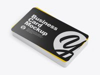 Stack of Glossy Business Cards Mockup