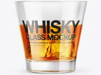 Whisky Glass w/ Ice Cubes Mockup