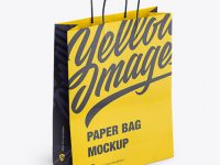 Paper Shopping Bag with Rope Handle Mockup - Halfside View (High-Angle Shot)