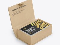 Kraft Paper Box w/ Business Cards Mockup