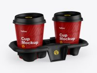 Matte Holder with Coffee Cups Mockup