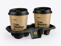 Kraft Holder with Coffee Cups Mockup