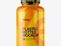 Glossy Pills Bottle with Shrink Sleeve Mockup