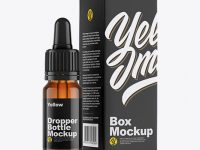 Amber Dropper Bottle w/ Box Mockup