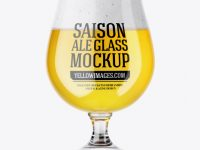 Tulip Glass With Salson Ale Mockup