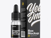 Clear Glass Dropper Bottle w/ Box Mockup