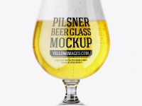 Tulip Glass With Pilsner Ale Mockup