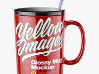 Glossy Mug with Lid Mockup