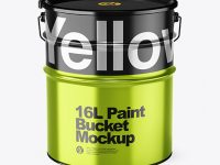 16L Metallic Paint Bucket Mockup