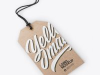Kraft Label With Rope Mockup - Half Side View