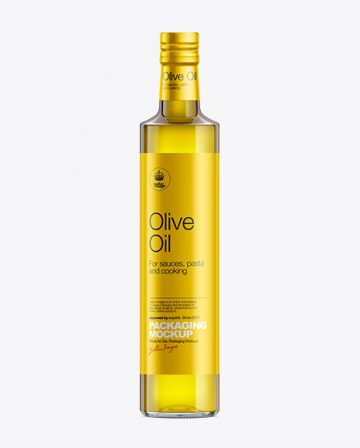 500ml Clear Glass Olive Oil Bottle with Shrink Band Mockup