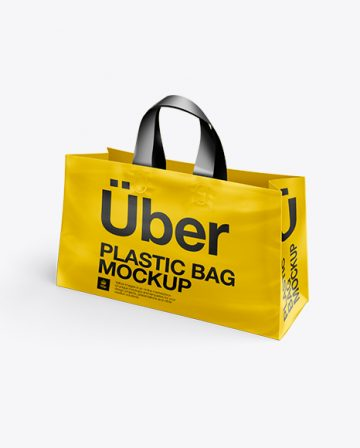 Plastic Shopping Bag PSD Mockup - Half Side View