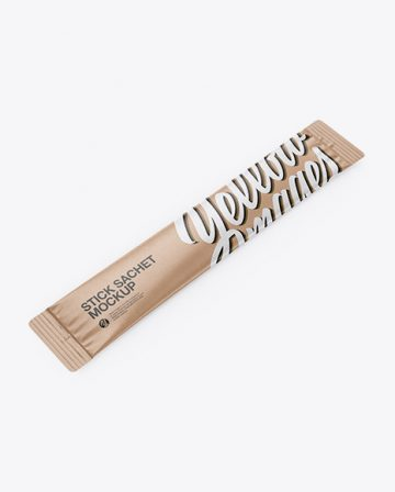 Kraft Stick Sachet Mockup - Half Side View
