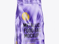 Metallic Food Bag Mockup - Halfside View