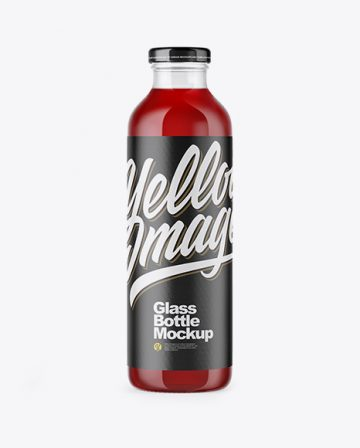 Clear Glass Bottle With Cherry Juice Mockup