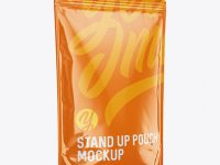 Glossy Stand-Up Pouch Mockup - Halfside View