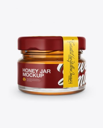 Glass Jar with Pure Honey Mockup