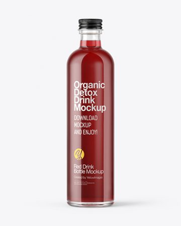 Bottle with Red Drink Mockup