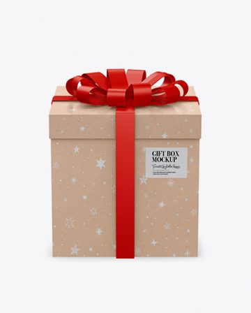 Kraft Paper Gift Box With Glossy Bow Mockup
