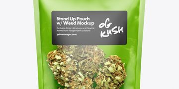 Stand-Up Pouch w/ Weed Buds Mockup