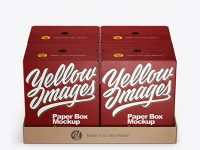 Paper Palette With Four Textured Boxes Mockup