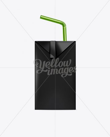 200ml Juice Carton Package with Straw Mockup