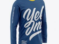 Men's Long Sleeve T-Shirt Mockup - Front Half-Side View