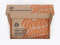 Opened Kraft Paper Box Mockup - Top View