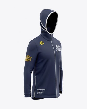 Basketball Full-Zip Hoodie Mockup - Front Half Side View