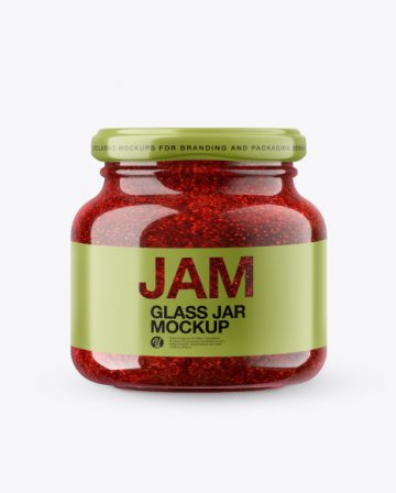 Glass Raspberry Jam Jar in Shrink Sleeve Mockup